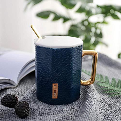 Gbcyp Creative Gold Polygon koffiemok met deksel en lepel porselein sapbeker voor drinken koffie melk thee