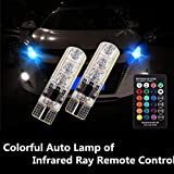 AutoTrends T10 6 SMD RGB LED Car Reading Light Lamp Bulb with Remote