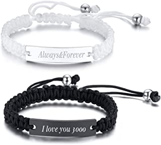 Cutomize Handmade Braided Rope Couples Bracelets for Him and Her Cutsom Engraving Matching Relationship Promise Distance Yinyang Couples Bracelets Set for Couples