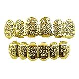Top Class Jewels Grillz plaqué Or 14 K avec Diamants CZ – Ensemble Haut et Bas + 2...