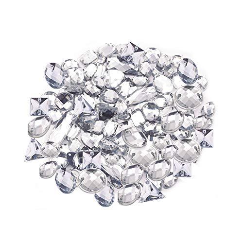 Anyasen Cristales de Coser 200 Piezas Gemas Transparentes de Acrílico Facetados Diamantes de Cristal Botones de Costura Imitación de Espalda Plana para Decoración de Vestido Ropa