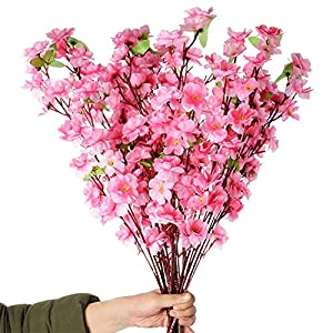 Callu 10Pcs Artificial Flowers Peach Blossom Simulation Peach Branches Flowers Silk Peach Flowers Bouquets Faux Spring Peach Fake Plants for Wedding Home Christmas Indoor Outdoor Decorative