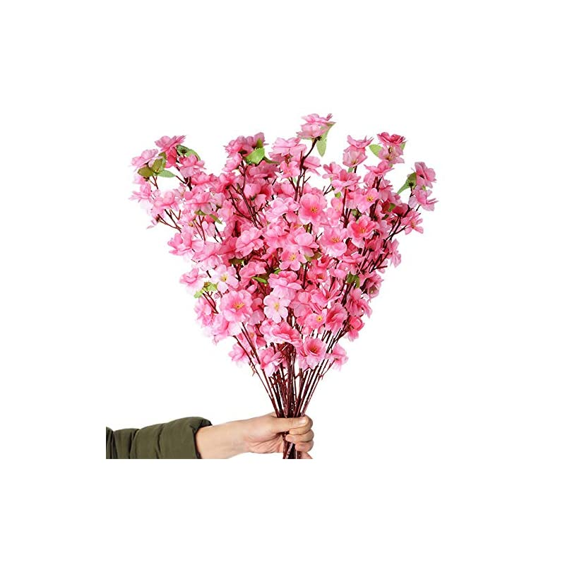 silk flower arrangements callu 10pcs artificial flowers peach blossom simulation peach branches flowers silk peach flowers bouquets faux spring peach fake plants for wedding home christmas indoor outdoor decorative (pink)