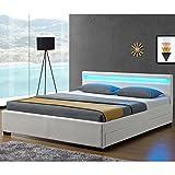 Juskys LED Polsterbett Lyon mit Bettkasten 180 x 200 cm – Bettgestell mit Lattenrost - Kunstleder – weiß – Doppelbett Schlafzimmer Möbel