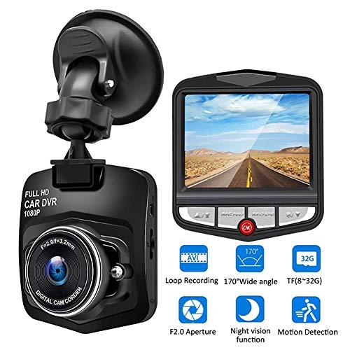 WXJHA Dash Cam, Auto-DVR Videorecorder HD 1080P Fahrenrecorder-Nachtsicht-Videorecorder Schleifenaufnahme Bewegungserkennung Weitwinkel-Recorder,Black32gb