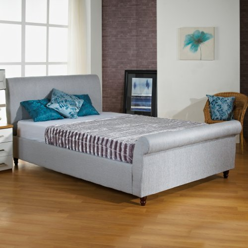 Hf4you Fabric Upholstered Sleigh Bed Frame - 4Ft Small Double - Ice Grey - 9' Ortho Damask Mattress