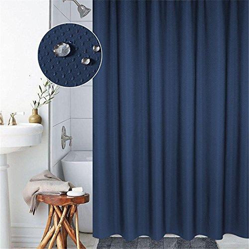 Lovedrop Duschvorhang Anti-Schimmel und Wasserdicht 100prozent Polyester Badezimmer Duschvorhang mit verstärktem Saum, mit Haken 120/150/180/200 x 200cm, Grau/Blau (180x200cm, Blau)
