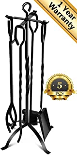 5-Piece Fireplace Tools Set 31'', Heavy Duty Wrought Iron Fire Place Toolset with Poker, Shovel, Tongs, Brush, Stand for Outdoor Indoor Chimney, Hearth, Stove, Firepit-Easy to Assemble, Black