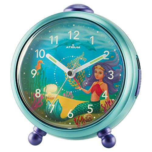 ATRIUM Kinderwecker Nelly Mädchen Meerjungfrau ohne Ticken Snooze Licht analog Quarz blau A932-13