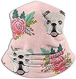 English Bulldog Pink Florals UV Sun Protection Gaiter Sun Mask para hombres y mujeres, careta para pesca, senderismo, kayak Ma