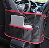 Car Net Pocket Handbag Holder, Seat Back Organizer Mesh, Car Storage Netting Pouch, Used to Store Wallets and Document Bags, Barrier of Backseat Pet Kids (Upgrade Red)