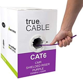 trueCABLE Cat6 Shielded Riser (CMR), 1000ft, Purple, 23AWG Solid Bare Copper, 550MHz, ETL Listed, Overall Foil Shield (FTP), Bulk Ethernet Cable