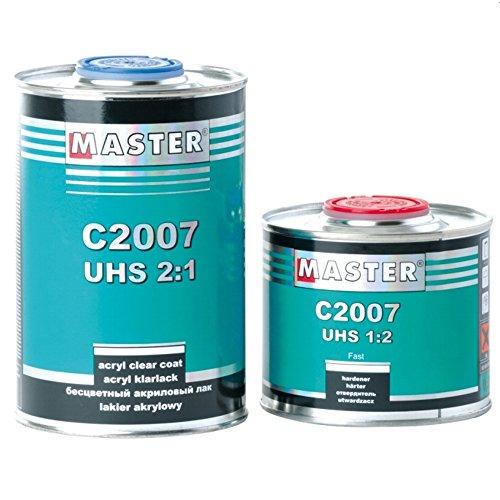 Master Troton 2K C2007 UHS hochglänzende Acryl Klarlack Lack Autolack 2:1 Kratzfest 1L + Härter 1:2 0.5L
