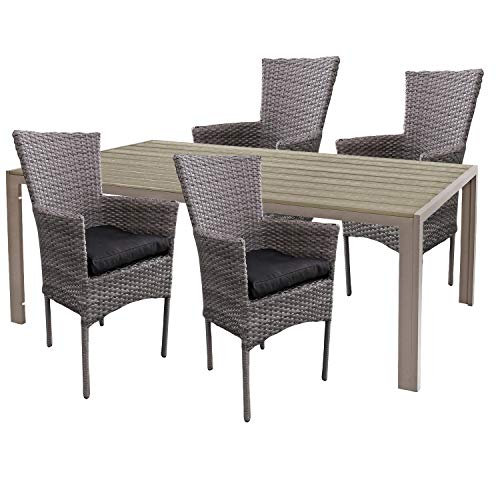 Mojawo hoogwaardige tuinset 5-delig tuintafel 180x90cm champagne aluminium/polywood champagne + 4 rotan stoelen grijs gemêleerd