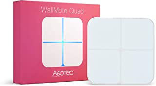 Aeotec WallMote Quad Zwave Scene Controller 4 Zwave Button Wireless Z-Wave Plus Wall Switch, Old Version, Compatible with ...