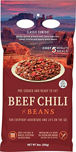 Chef 5 Minute Meals Beef Chili with Beans Self-Heating Backpack Meal