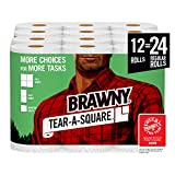 Brawny Tear-A-Square Paper Towels, 12 = 24 Regular Rolls, 3 Sheet Size Options, Quarter Size Sheets, 12 Count,...