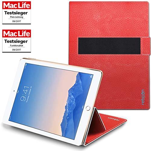 reboon Hülle für Apple iPad Air 2 Tasche Cover Case Bumper | in Rot Leder | Testsieger