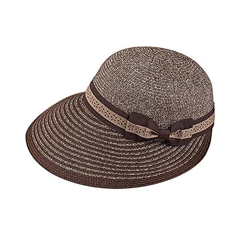 Linckry Sombrero para el Sol de Paja para Mujer, Sombrero Plegable de Gasa Ajustable con Lazo, Banda de ala Ancha, Sombrero de Playa de Verano, Visera con Nudo de Lazo