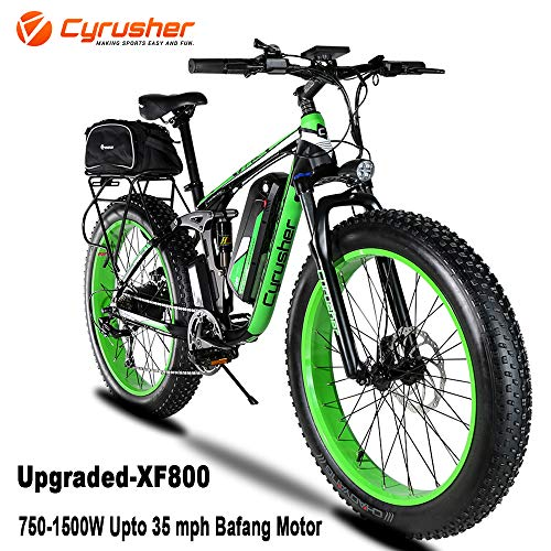 Cyrusher XF800 750W Electric Bike 264 Fat Tire Mountain Ebikes 7 Speeds Snow Beach Electric Bicycles with 13ah Battery and Bag Rack for Men (Green)