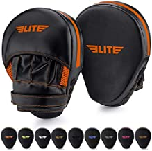 Elite Sports Boxing Mitts for Muay Thai MMA Sparring Training Punching Focus Punch Target Mitts and Pads (Orange)