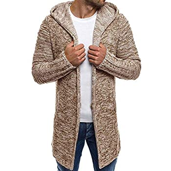 Sumen Men Autumn Winter Hooded Trench Coat Knitted Open Front Sweater Cardigan Khaki