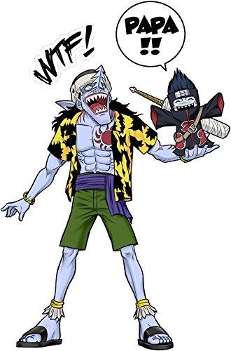 T-Shirt Noir Naruto - One Piece parodique Arlong et Kisame : Papa. WTF !! (Parodie Naruto - One Piece)
