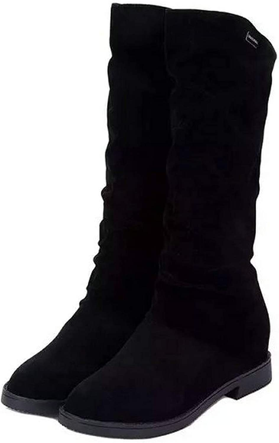 Women Boots Square Heels Round Toe Mid-Calf Boots Woman shoes Suede Leather Winter Boots