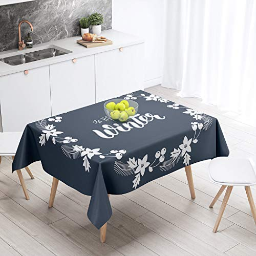 Rumlly Tablecloth Winter Trendy Handdrawn Quote Wreath Rowanberry Fir Branches Poinsettia 60 X 90 Inch Rectangular Table Cloth Polyester Fabric Durable Environmentally Outdoor Party Picnic