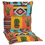 nxtbuy Gartenstuhl-Auflage Nizza 100x52 cm Mexico 4er Set - Niedriglehnerauflage für Gartenstühle - Stuhlauflage mit Komfortschaumkern - Made in EU / ÖkoTex100