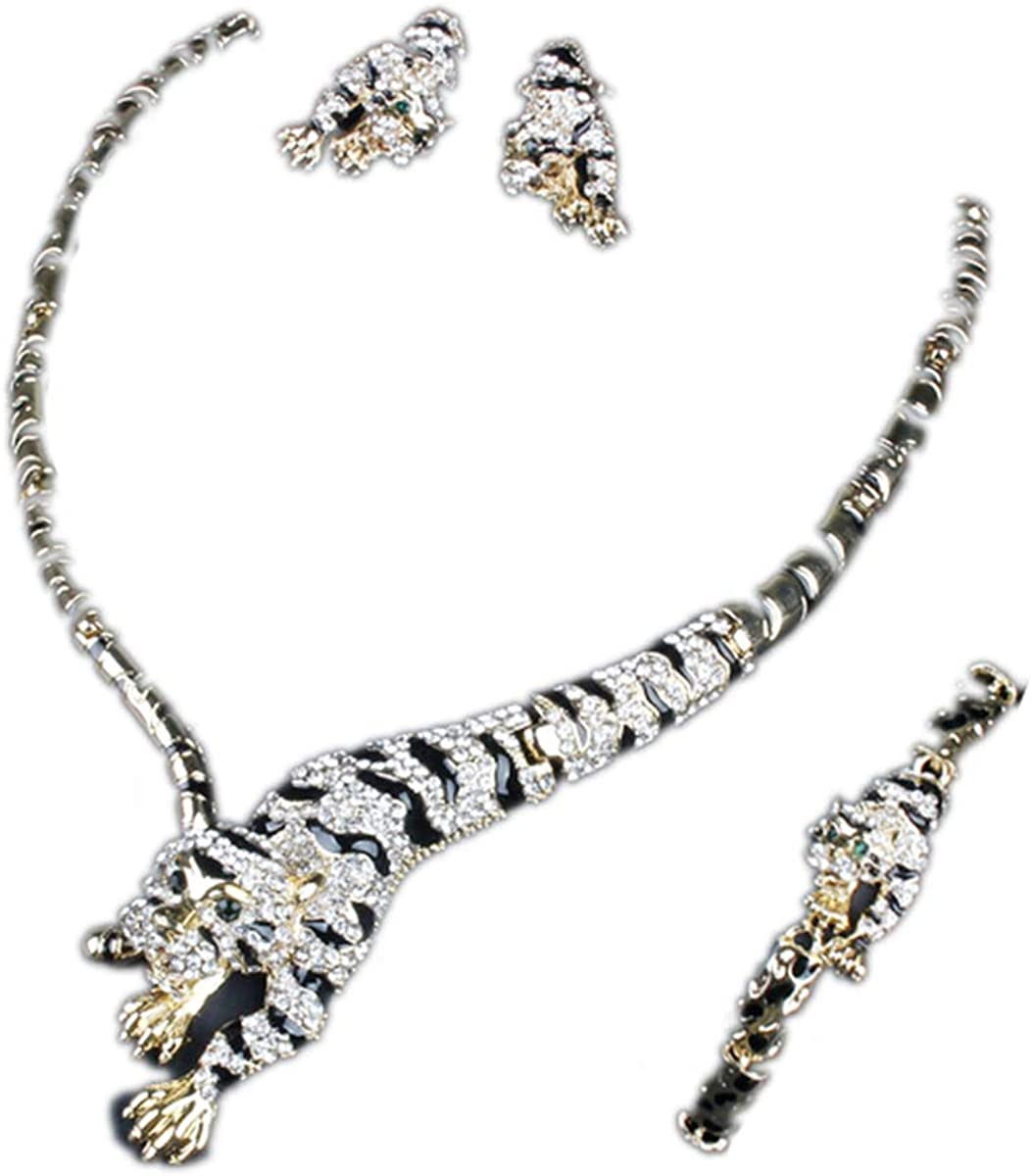 ENUUNO Prom Gothic Costume Jewelry for Women Gold Leopard Statement Choker Necklace and Earrings Bracelets Bridal Jewelry Set for Wedding