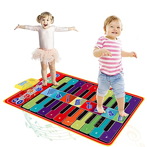 TWFRIC Kids Musical Mat, 34.6'x 23.6' Double-Keyboard Musical Piano Mat 20 Keys with 8 Instrument Sounds/10 Demos Touch Play Musical Mat Gifts Toy for Kids Boys Girls