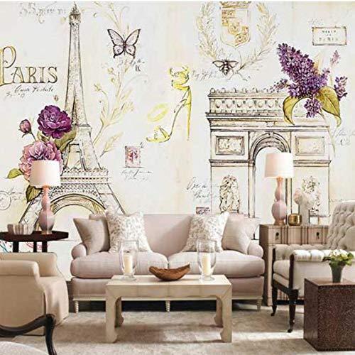 Dalxsh 3D fotobehang 3D-Europese stijl Frans behang woonkamer slaapkamer bank tv achtergrond muurschildering 350x250cm