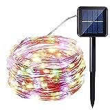 ZXPPL 100 Cabezas 12m LED Cadena de luz Solar luz de Alambre de Cobre luz de decoración de Vacaciones jardín al Aire Libre Linterna luz de Cadena de jardín 8 Funciones