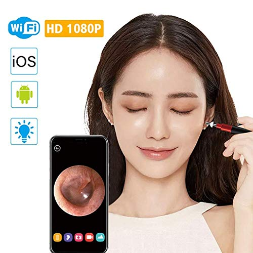 Caméra otoscope WiFi, endoscope auriculaire avec outil de suppression de cire d'oreille, caméra d'inspection étanche 3,9 mm HD 1080P 2 mégapixels étanche avec 6 LED pour tablette, IOS, Android (NOIR)