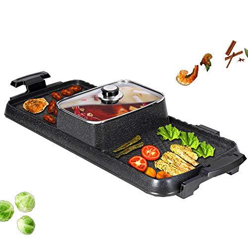JZH-Wine set Elektrogrill Und Heißer Topf 2200 W Multifunktion Barbecue Hot Pot Doppelter Topf Elektrisches Backblech Doppelthermostat-Steuerung Integriertes Design