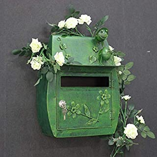 Vintage metal mailbox on wall (Color : Green)
