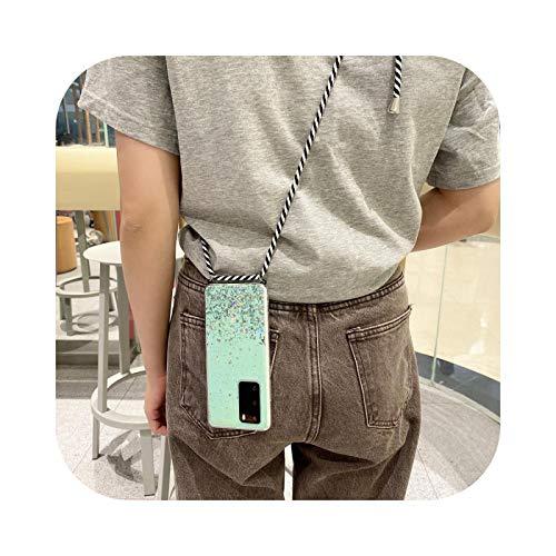 Carcasa para Huawei P20 P30 P40 Pro Mate 20 30 Honor 10I 10 I 9 Lite 8X Funda con Lentejuelas Green-P Smart Plus (2019)