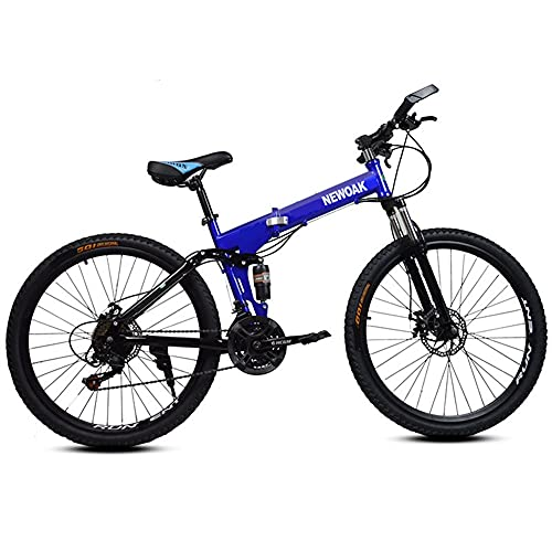 Youth/Adult 21-speed 26-inch Wind-breaking Spoke Wheel Foldable Mountain Bike, Front Suspension Mountain Cross-country Bike, Multiple Colors, High-end Grip Pedals, High-carbon Steel Frame, Front And R