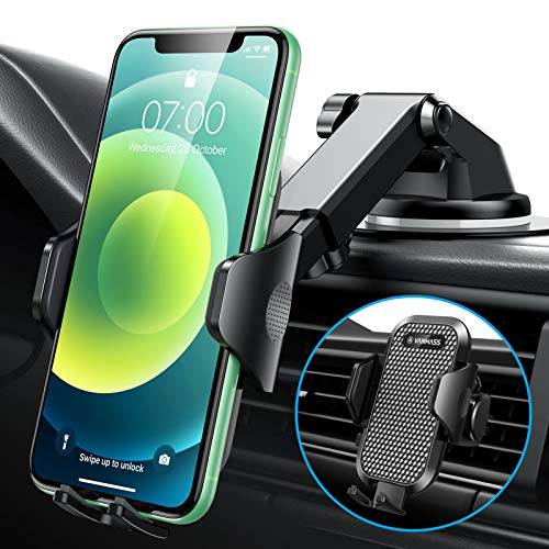 [2021 Upgrade]VANMASS Universal Car Phone Mount Fingerprint Clamp, Hands-Free Phone Holder for Car Dash Windshield Air Vent, Strong Suction, Compatible with iPhone 12 11 Xs Max XR SE 8 Samsung S21 S20