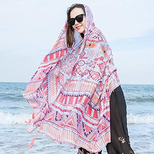 Vcnhln Bufanda de Seda para Mujer otoño e Invierno Estilo étnico Chal Bufanda Toalla de Playa de mar de Doble Uso Protector Solar Gasa Bufanda