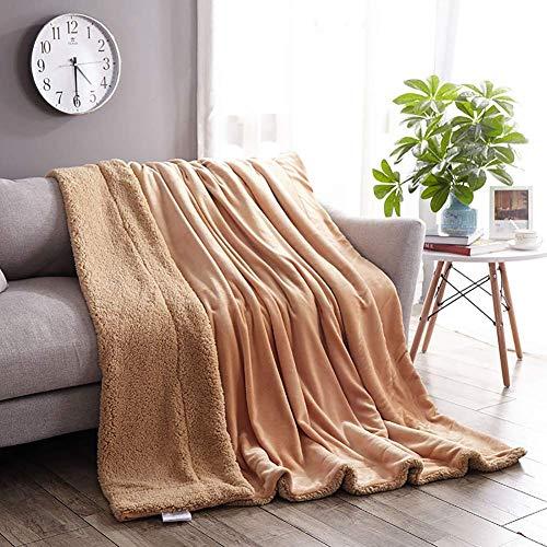 Flanell Samtplüsch Reversible Decke, Kaschmir Decke Tan Sherpa Fleece Decke (Color : Tan, Größe : 150x200CM)