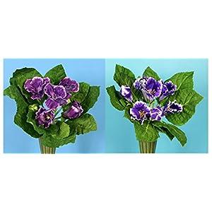 Silk Flower Arrangements Pick One Large Purple African Violet Gloxinia Artificial Faux Silk Flower Bush (Purple)