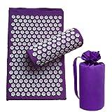 chebao, Esterillas de yoga, 3 unids/set Lotus acupuntura masaje almohada relajación Yoga Pad (púrpura oscuro)