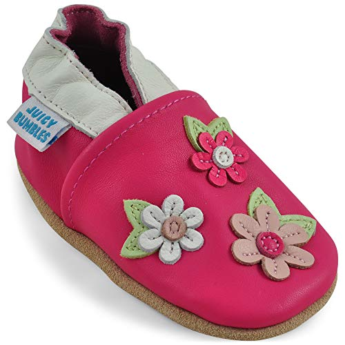 Juicy Bumbles Chaussures Bébé - Chaussons Bébé Cuir Souple - Cerisier Rose 0-6 Mois