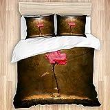 Yoyon Funda nórdica, luz de Sol Rosa Flor Rosa en una Planta Creativa de Vidrio, Juego de Cama de Microfibra de Calidad, Ultra Suave, cómodo diseño Moderno