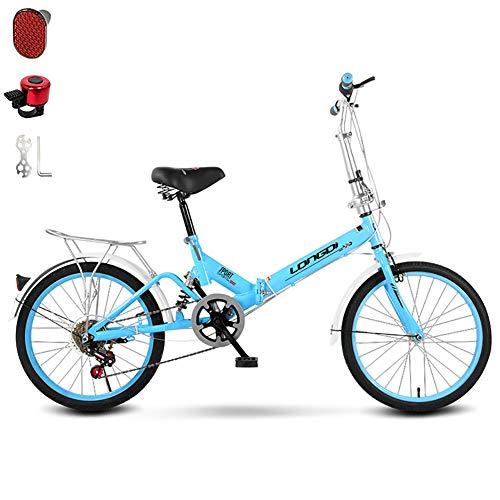 Nileco 20 Pulgadas Adultos Bicicleta Plegable,Velocidad Variable Amortiguación Comodidad Bicicleta para Hombres Y Mujeres,con Bell Asiento Ajustable Bicicleta para 135-175 Cm Altura