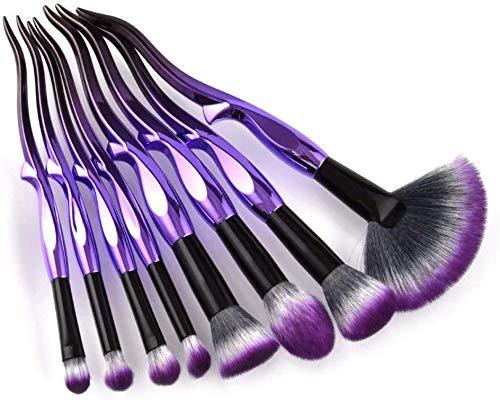 8Pcs doux fibre Fan Brush Violet Noir Teint Poudre Visage Contour fard à joues fard à paupières Maquillage Pinceaux Beauté Outils cosmétiques Kit BTZHY