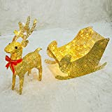 Iluminación de ciervos dorados Navidad Cálido blanco LED marco de hierro luz 60 cm brillo ciervo con trineo interior al aire libre decoraciones de navidad ciervos para césped, jardín, 60cm