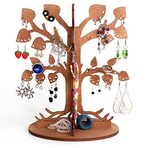 J Design Hölzerner Schmuckständer- Moderner Deko Baum für Ohrring Aufbewahrung - Ringe und Andere Schmuckartikel für Frauen und Mädchen - Leafy Dream - Farbe Braun